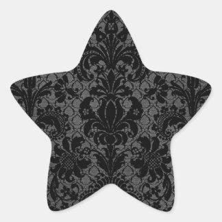 faux lace black gray damask pattern star sticker