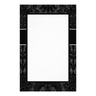 faux lace black grey damask pattern design stationery
