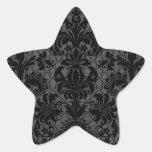 faux lace black grey damask pattern star stickers