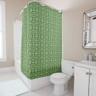 Faux Lace Green Pattern Shower Curtain