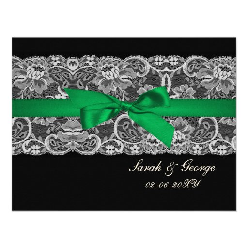 """Faux lace ribbon """"emerald green""""  wedding rsvp personalized invite"""