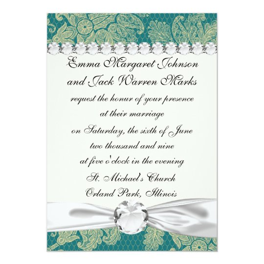 faux lace teal and cream floral damask pattern 13 cm x 18 cm invitation card