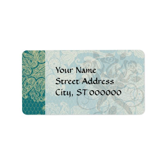faux lace teal and cream floral damask pattern label