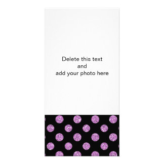 Faux Lavender Glitter Polka Dots Pattern on Black Personalized Photo Card