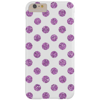 Faux Lavender Glitter Polka Dots Pattern on White Barely There iPhone 6 Plus Case