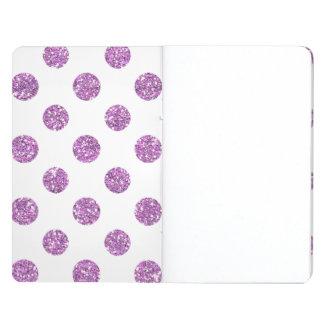 Faux Lavender Glitter Polka Dots Pattern on White Journal