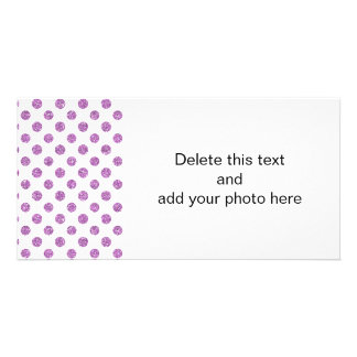 Faux Lavender Glitter Polka Dots Pattern on White Photo Cards
