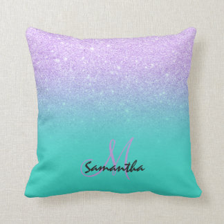 Faux lavender mermaid glitter ombre turquoise throw pillow