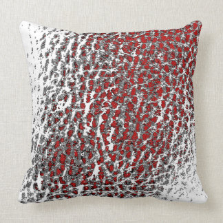 Faux Leather Abstract Mix BLK White & Red Throw Pillow