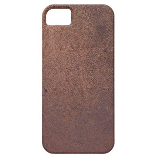 Faux leather, brown with some marks and scratches iPhone 5 cover