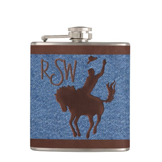 Faux Leather Cowboy on Horse (Personalised) Flask