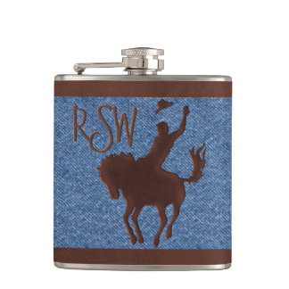 Faux Leather Cowboy on Horse (Personalized) Hip Flask