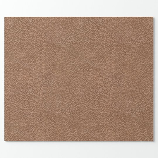Faux Leather Natural Brown Wrapping Paper
