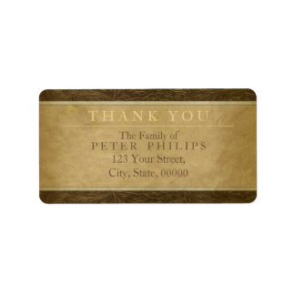 Faux leather parchment Thank You Family Label