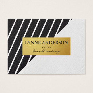 Faux Leather White Stripes Gold Metallic Label Business Card
