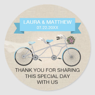Faux Linen Blue Tandem Bicycle Wedding Round Sticker
