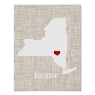 Faux Linen Personalized New York Home Print