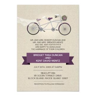 Faux Linen Plum Tandem Bicycle Wedding 13 Cm X 18 Cm Invitation Card
