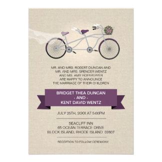 Faux Linen Plum Tandem Bicycle Wedding Invitations