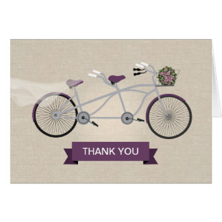 Faux Linen Plum Tandem Bicycle Wedding Note Card