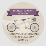 Faux Linen Plum Tandem Bicycle Wedding Round Sticker