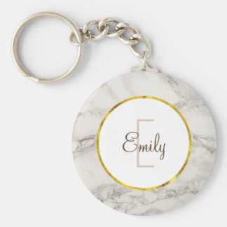 Faux Marble Alabaster Taupe Tan Modern Custom Key Ring
