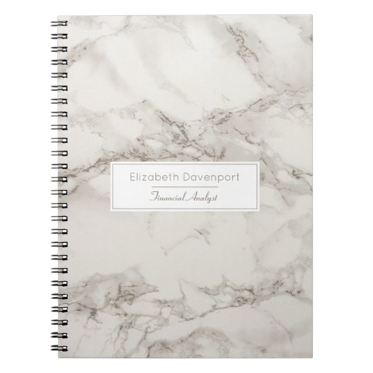 Faux Marble Alabaster Taupe Tan Modern Custom Notebook
