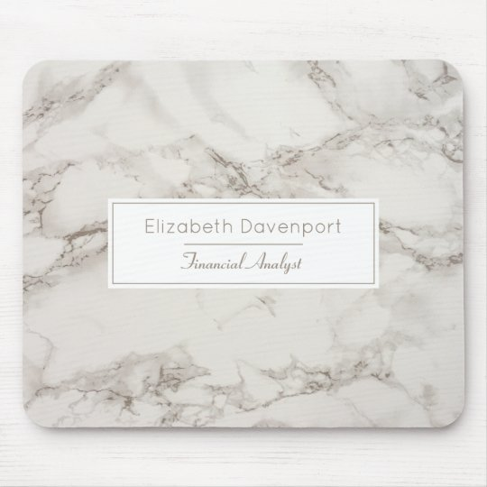 Faux Marble Alabaster Taupe Tan Modern Mouse Mat