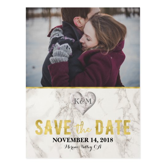 Faux Marble and Gold Elegant Save the Date