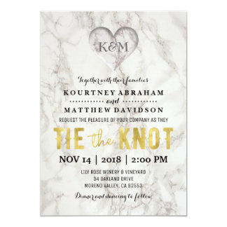 Faux Marble and Gold Elegant Wedding Card