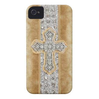 Faux Marble & Rhinestone Cross IPHONE 4 CASE