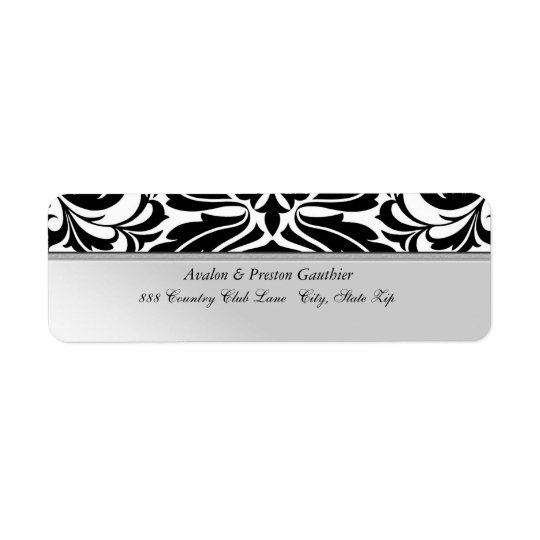 Faux Metal  Black Damask Wedding Address Label