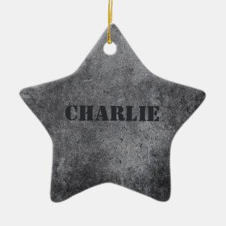 Faux Metal custom name star ornament