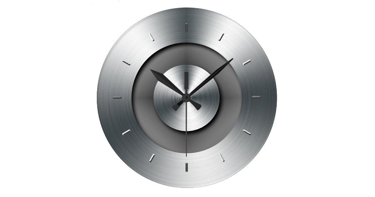 Faux Metal Elegant Modern Wall Clock Zazzle Co Uk