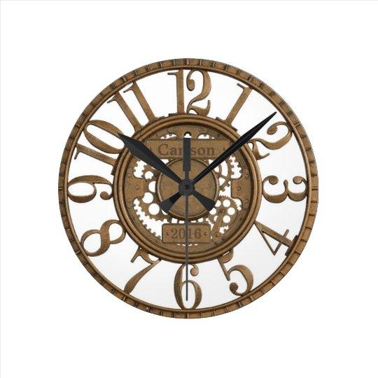Faux metal open-gear custom design round clock