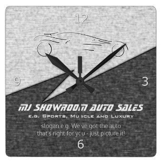 Faux metal, silver auto - Auto Sales Showroom Wallclocks
