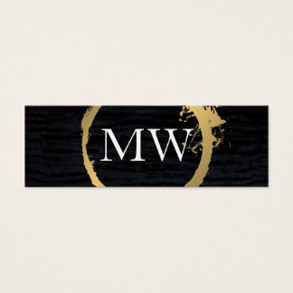 Faux Metallic Gold Velvet Black with Monogram Mini Business Card