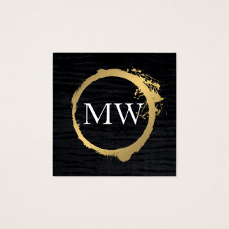 Faux Metallic Gold Velvet Black with Monogram Square Business Card