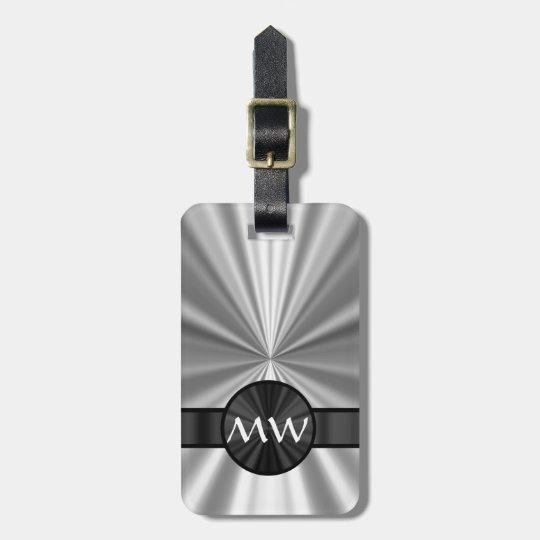 Faux metallic monogrammed luggage tag