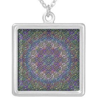 faux metallic pattern square pendant necklace