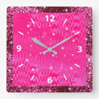 Faux Metallic, Pink Glitter, & Sparkle, Custom Square Wall Clock