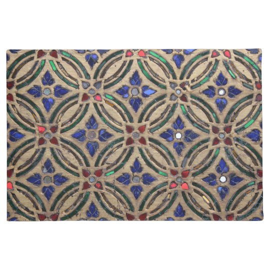 Faux mosaic tile pattern stone glass photo Morocco Doormat