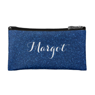 Faux Navy Blue Glitter Personalized Cosmetic Bag