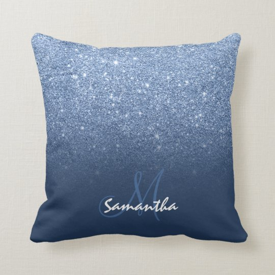 Faux navy blue peony glitter ombre cushion