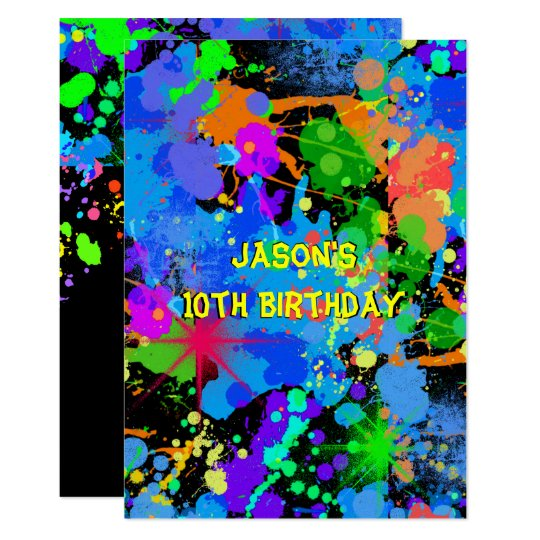 Faux Neon, Paint Splatter, Paintball, Invitation