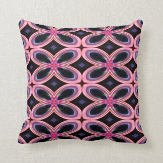 Faux Neon Pink Flower Power Throw Pillow