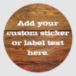 Faux Oiled Wood Plank Personalised Custom Round Sticker