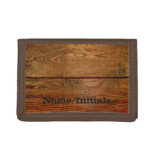 Faux Oiled Wood Plank Personalised Custom Tri-fold Wallets