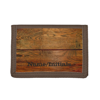 Faux Oiled Wood Plank Personalized Custom Tri-fold Wallet
