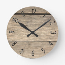 Faux Old Wooden Barrel Round Clock